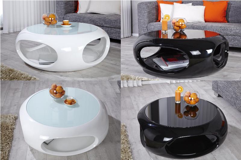 Moderner couchtisch gl nzt mit design und integrierter for Design couchtisch bowl highgloss weiss 90cm
