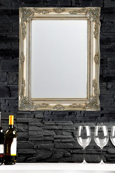 design wandspiegel barocco silber 50x40cm. Black Bedroom Furniture Sets. Home Design Ideas